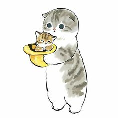 Baby Animals Super Cute, Cute Animals, Black Veil Brides, Dumb Cats, Kitten Drawing, Cute Cartoon Images, Cute Little Kittens, Collage Illustration, Watercolor Cat