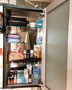 Uncomplicate your morning routine with a well organized medicine cabinet. These extremely shallow cabinets were edited down to daily essentials that are easy to access.⠀ ⠀ Remember your prime real estate, spaces that are easily accessible and eye level, should house what you use most often. ⠀ ⠀ Store backstock in labeled bins in another closet. Just check your backstock before buying more!⠀ ⠀ How complicated is your morning routine? Do you need to edit your shelves or drawers? Let me know in… Shallow Cabinets, Medicine Cabinet Organization, Routine, Drawers, Essentials, Real Estate, Shelves, Spaces, Eye