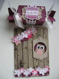 Owl Punch Card and Candy Wrapper for Girls Eulen Stanze : Karte und Knallbonbon für Mädchen mit Petite Petals /  Kleine Blüte
