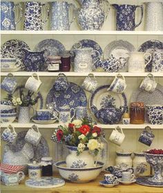 beautiful blue & white display