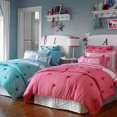 Scarlett wants pink, Jillian blue, perhaps white slipcovered headboard, monogramed accent pillows, white coverlet with colored accents...