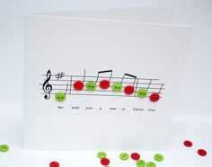 Christmas Card Christmas Music with button notes by Nikelcards