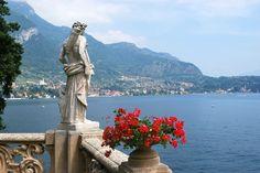Stone Look - Statue in Villa del Balbianello's garden in Lenno, Como, Italy.
