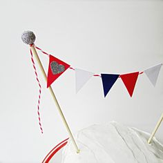 4th of July Cake Bunting Topper Red White & by emptynestcottage