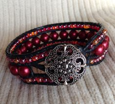 Triple Row Beaded LEATHER Wrap BRACELET Cuff: Black Leather, Ruby Glass Beads, Seed Beads, Vintage Filigree Button Clasp, Gift for Her