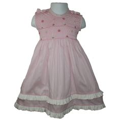 Pink Lucy - Cotton Piquet dress, Sleeveless, Plain Colour with white floral embroidery,  Button Back Dress with tie back. Pk of 1