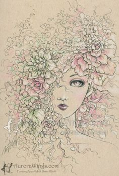 """How's your afternoon, everyone? We're having a fabulous time at #EMGSketchFest 85! We're going to tease you with some featured illustrations, but make sure you visit the full gallery! The third featured illustration is """"Veil of Petals"""" by Mitzi Sato-Wiuff. Original is available! See the full gallery here: http://www.ellenmilliongraphics.com/sketchfest/sketchfestgallery.php?date=85 #flowers #artevent #speeddrawing #speedsketch #arteveryday #arteverywhere #sketches"""