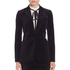FRAME Velvet Mod Blazer (13.327.405 VND) ❤ liked on Polyvore featuring outerwear, jackets, blazers, apparel & accessories, noir, long sleeve jacket, velvet jacket, frame denim, long sleeve blazer and blazer jacket