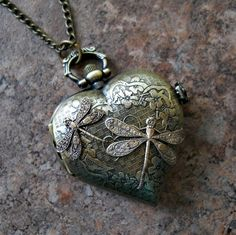 Victorian Love Dragonfly Locket Watch in Brass Exclusive Design by Enchanted Lockets