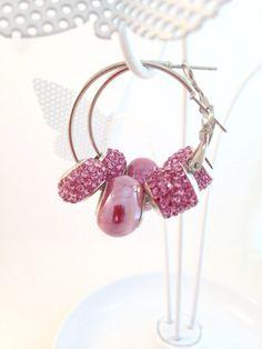 Pink Bling Earrings, European Style Hoop Earrings, European Charm Beads, Bridesmaid Gift, Sweet 16, Prom by BeadGlitzy on Etsy