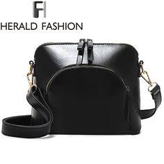 High Patent Leather Shoulder Bag Zipper Women Bag Tassel Cross Body Shell Bag Black Messenger Bags Bolsa Feminina Herald Fashion