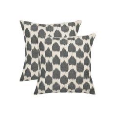 Polka Dot Ikat 2-piece 22'' x 22'' Throw Pillow Set, Grey (Charcoal)