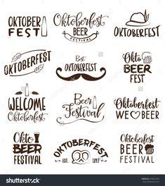 Oktoberfest Typographic Design Set - Poster Design For Beer Festival Stock…