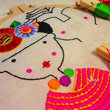 Frida Kahlo y Diego Rivera en proceso. Mexican Art, Embroidery Art, Henna, Snoopy, Creatures, Kids Rugs, Stitch, Knitting, Projects