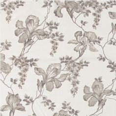 Duschvorhang, Weiß mit grauen Blumen