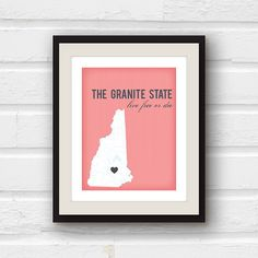 Christmas in July - New Hampshire art - New Hampshire map - Concord NH - Manchester NH - custom 8x10 New Hampshire print