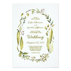 Watercolor Wedding Invitation watercolor laurel wedding invitations