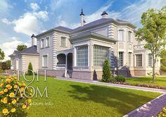 Видео, фото архитектурного проекта загородного дома в классическом стиле, описание архитектуры дома