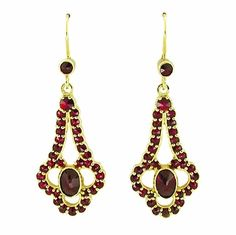 -Victorian Bohemian garnet earrings in 14K yellow gold