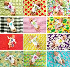 Monthly Baby Photos...doing this with Kourtney...but love the different color blanket backgrounds!