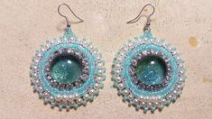 Beaded earrings with glitter cabochons (with nailpolish), rhinestones and seedbeads made by Alexandra Reiner Etsy shop Chest of Beads Beaded Earrings, Drop Earrings, Nail Polish, Glitter, Etsy Shop, Beads, Rhinestones, Jewelry, Beading