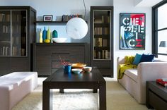 meubles salon couleur wengé combinés de canapés blancs