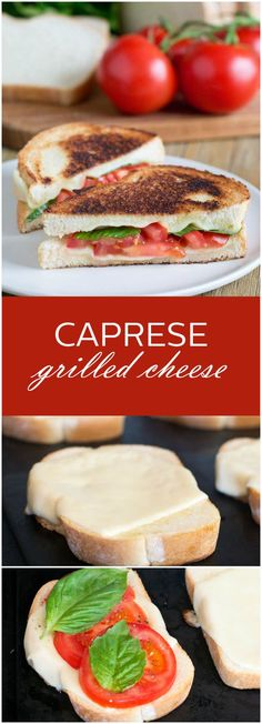 Caprese Grilled Cheese, an upscale take on the classic comfort food. Ooey gooey mozzarella cheese, ripe juicy tomatoes, and fresh basil grilled on artisan bread. Delicious! #grilledcheeserecipes #capresegrilledcheese #sandwhichrecipes #cookthestory