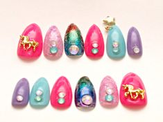 Stiletto nails unicorn nail dangling multi color nail by Aya1gou