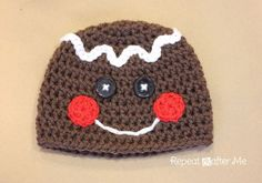 Repeat Crafter Me: Gingerbread Man Crochet Hat Pattern/Use for Cupcake larger sizes also.