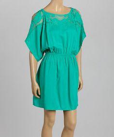 Love this Aqua Cutout Drop-Waist Dress by Angie Apparel on #zulily! #zulilyfinds