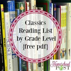Looking for a list of classics to read with your child? Robin shares with us her list by grade level. Perfect for Charlotte Mason methods. Includes free pdf-have to scroll almost to the end for book lists. Kids Reading, Teaching Reading, Reading Lists, Book Lists, Homeschool Books, Homeschool Curriculum, Homeschooling Resources, Reading Resources, Classics To Read