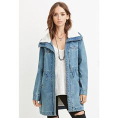 Forever 21 Women's  Faux Shearling Denim Jacket ($58) ❤ liked on Polyvore featuring outerwear, jackets, zip jacket, long sleeve denim jacket, sherpa jacket, blue denim jacket and zipper jacket