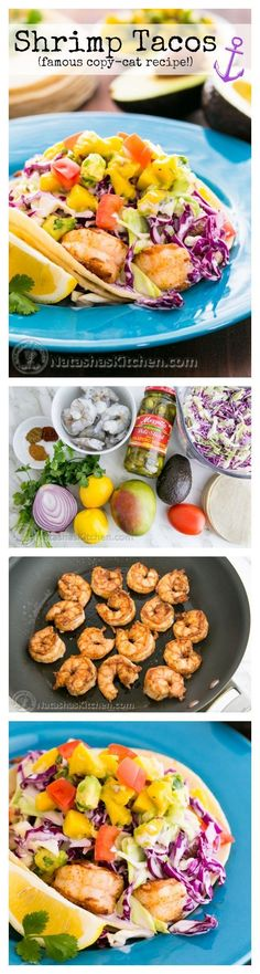 Shrimp Tacos with coconut coleslaw and mango avocado salsa. (Not sure about coconut coleslaw). It's a delicious mouthful for sure! Copycat recipe for Coconut's Fish Cafe tacos in Maui. Fish Recipes, Seafood Recipes, Mexican Food Recipes, Cooking Recipes, Dinner Recipes, Seafood Appetizers, I Love Food, Good Food, Gastronomia