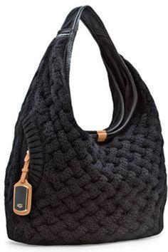 8304594cc9 Ugg Australia Small Knit Hobo Tote Hand Bag Black Style TE010  UGGAustralia   Hobo Hobo