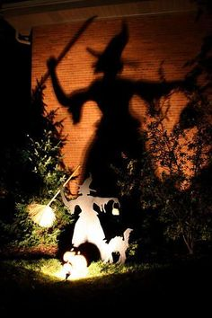 Simple idea for a scary outdoor halloween display using shadows.