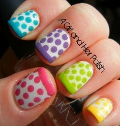 Introducing to the nail art trend in 2014 : Colorful Nail Art Trend In 2014 dots & french
