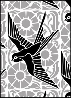 Bluebird or swallow stencil, over modern floral background. Click to see the actual DE319 - Repeat No 40 stencil design.