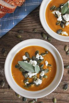 Butternut Squash Soup with Roasted Garlic, Goat Cheese and Pepitas