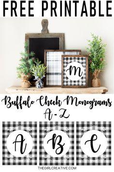 Free Printable Buffalo Check Monograms
