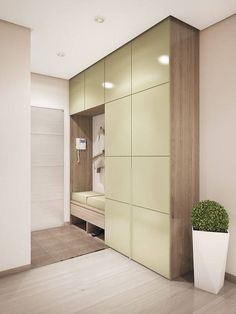 Great space saving wardrobe solution for the hallway. | Tolle, platzsparende Schranklösung für den Flur. #interiordesign #hallway #wardrobe #flur #garderobe