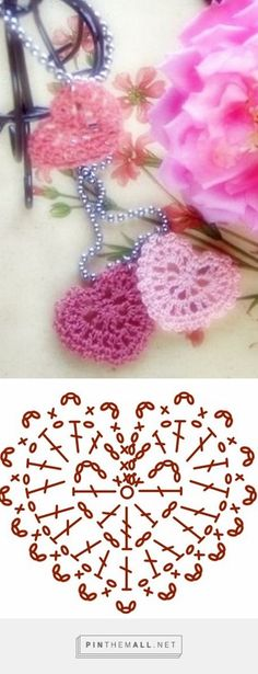 Ideas For Crochet Heart Applique Ganchillo Marque-pages Au Crochet, Appliques Au Crochet, Crochet Motifs, Crochet Diagram, Crochet Chart, Crochet Squares, Love Crochet, Crochet Gifts, Crochet Doilies
