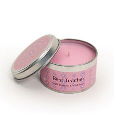 Apple Blossom & Wild Berry – Best Teacher £4.75  Apple Blossom & Wild Berry – Best Teacher.  A great little End of Term present to thank your favorite teacher.   The delicate fragrance of light apple blossom combined with rich fruity undertones of fresh wild berries creates a  heady fragrance taking you back to your childhood of old fashioned summers. Handmade in the UK Diameter: 76mm Height: 40mm Burn time: Up to 14 hours