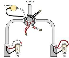 Connection of the three-way switch for the control of a lamp from two points (lamp power supply)