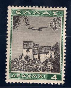 Greece Air Post Stamp 1940 SC C39 4d MHOG Dk Green & Black Simon Peter Monastary