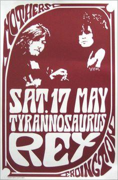 Tyrannosaurus Rex (T. T Rex Band, Electric Warrior, Vintage Concert Posters, Marc Bolan, Rock Posters, Music Posters, Image T, Rock Concert, Best Rock