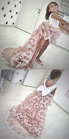 High Low Light Champagne Tiered Organza Flower Girl Dress with Lace