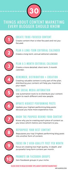 30 things about content marketing every blogger should know | editorial calendar | blog post ideas | grow your audience