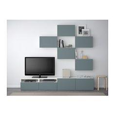 IKEA - BESTÅ, Tv-meubel, combi, wit/Valviken grijsturkoois, laderail, zachtsluitend, , De lades en de deuren gaan door de zachtsluitende functie zacht en stil dicht.Door de plaatsbesparende wandkasten kan je de ruimte boven de tv ook gebruiken.Alle snoeren van de tv en andere apparatuur zijn eenvoudig uit het zicht, maar binnen handbereik te houden, omdat er aan de achterkant van het tv-meubel meerdere snoeropeningen zitten.Door de uitsparing aan de bovenkant kan je snoeren gemakkelijk in…