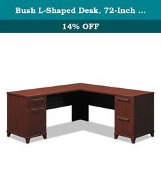 "Bush L-Shaped Desk, 72-Inch by 72-Inch by 30-Inch, Cherry. Enterprise Collection features 1"" thick, thermally fused surfaces that resist stains and scratches and integrated wire/cable management system. All desks come with a four-port USB hub to allow multiple computer peripheral connections. Corner Solutions include micro hutch, tack board and electronics charging station, which accepts standard power outlets. Hutches include full-width, fabric-wrapped tack board on back panel. Lateral…"