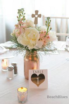 Or rose mariage / cuivre / Centre de table de mariage /